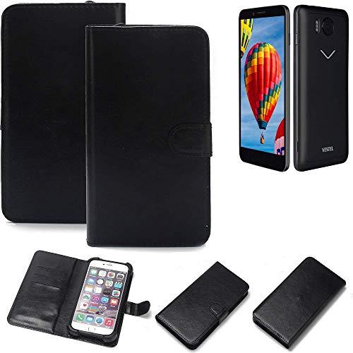 K-S-Trade® 360° Wallet Case Handyhülle Für Vestel V3 5580 Schutz Hülle Smartphone Flip Cover Flipstyle Tasche Schutzhülle Flipcover Slim Bumper Schwarz, 1x