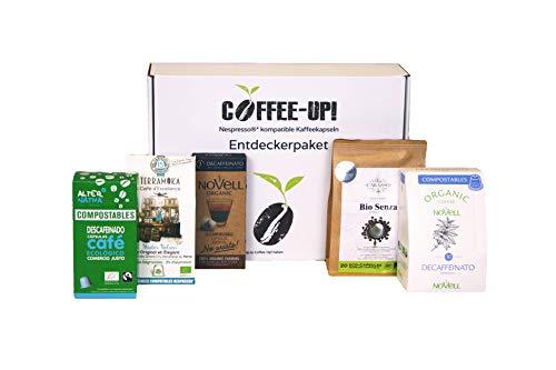 Coffee-Up-Entdeckerpaket: 5 verschiedene entkoffeinierte Sorten - kompostierbare & aluminiumfreie Bio-Kaffeekapseln, Nespresso® kompatibel