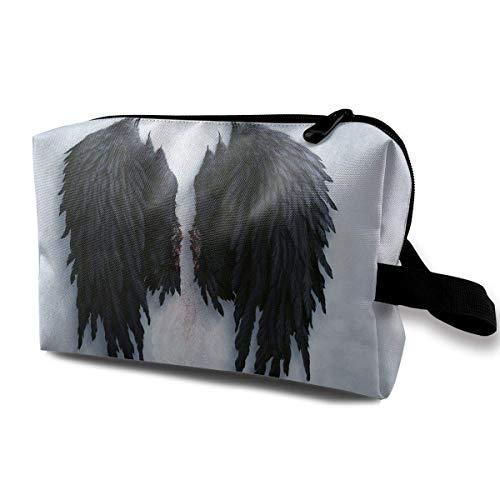 ic Bag Brush Pouch Black Angel Wings Zipper Pen Organizer Carry Case mini makeup bag ()