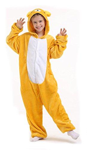 Bär Plüschkostüm Einteiler Jumpsuit für Kinder - Gelb/Weiß - Große 126-134 (Hersteller Gr. (Kinder Kostüme Giraffe Plüsch)