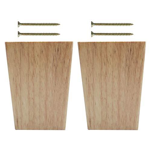 uxcell Möbelbeine, massives Holz, quadratisch, keilförmig, für Sofa, Couch Bank, Tisch, Schrank, Schrankfüße, Ersatz Höhe verstellbar, a19010700ux0823, 2pcs,Wood Color, Height 12cm/4.7 Inch
