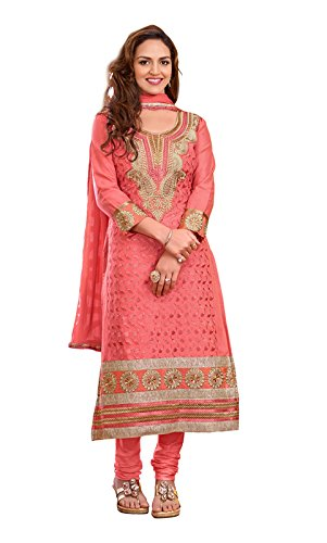 Khushali Women Cotton Embroidered Unstitched Salwar Suit Dress material(GAJRI)  available at amazon for Rs.1049