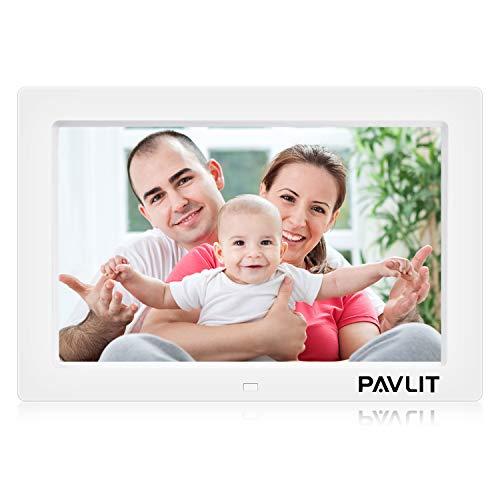 PAVLIT digitaler Bilderrahmen 10 Zoll IPS Bildschirm 1024x768 Hohe Auflösung Foto/Musik/Video Player mit Dia-Modus Kalender Alarm mit Fernbedienung 32GB SD Karte/MMC/MS/USB Weiß