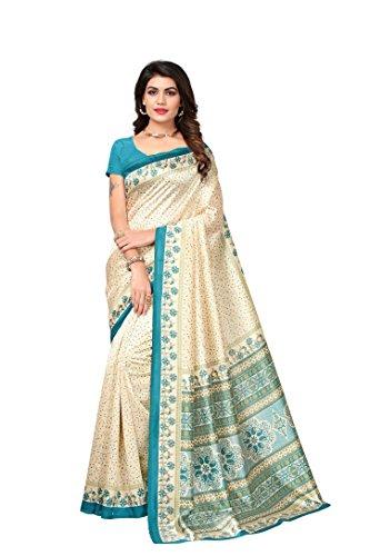 Rangreza Women's Mysore Kalamkari Silk Beige coloured printed saree with contrst colour.(PGZSAREE207)