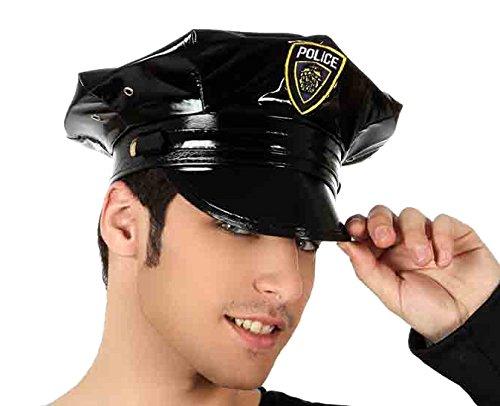 Chapeau de policier en cuir synthétique - Adulte : Standard - Taille unique