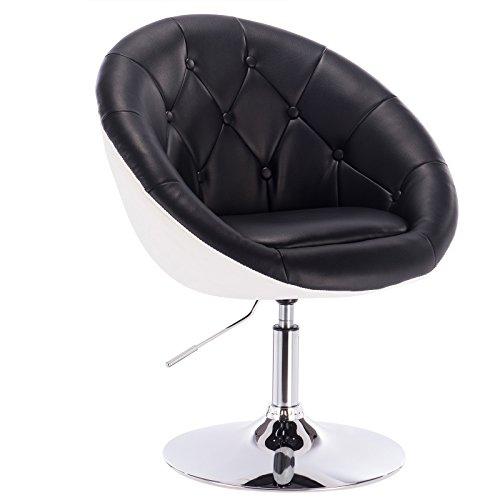 WOLTU® BH41szw-1 1 x Barsessel Loungesessel mit Armlehne Kunstleder 2 farbig Schwarz+Weiss