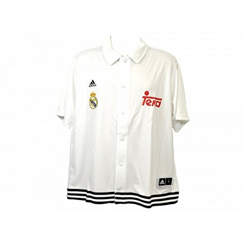 Real Madrid CF Official - Polo de botones modelo Snap Shooter (Grande (L)/Blanco)