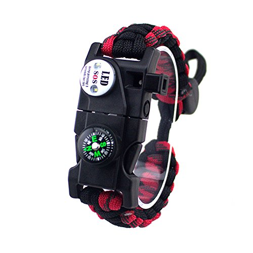 Black Fire Hat (Einstellbare Überleben Armband, 7 Core Paracord 20 in 1 Notfall-Sport Zahnrad Satz Outdoor Survival Kit mit LED SOS Licht, Kompass, Rettungspfeife, Fire Starter Multi-Tool für Wildnis Abenteuer)