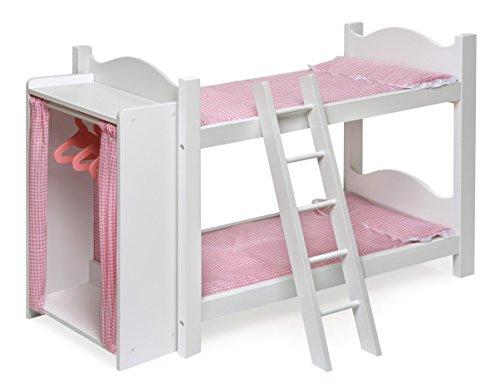 Badger Basket Doll Bunk Beds with Ladder and Storage Armoire for American Girl Dolls
