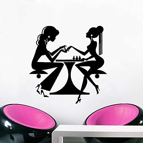 Vinyl Wandtattoos Beauty Salon Nagel Maniküre Wandaufkleber Haar Nagelstudio Decor Vinyl Nagel Schönheit Schaufenster Wandbild 42x43 cm -