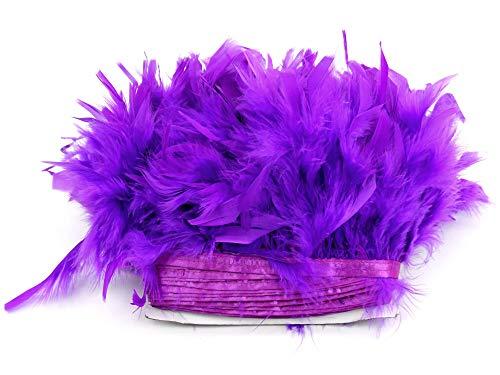 PANAX Echte Truthahnfedern in Lila auf 200cm Stoffstreifen und ca. 10-15cm Federnlänge - 9 Farbvarianten - Ideal zum Basteln, Fasching, Karneval, Hochzeiten, Dekorationen.
