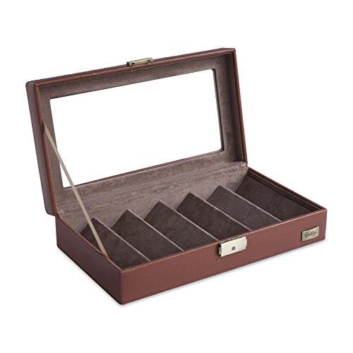 Cordays - Présentoir/Boîte/Coffret Organiseur pour 6 Lunettes avec Vitrine en Cristal et Serrure. Marron CDM-00028