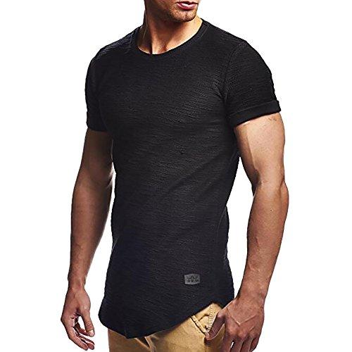Shirt - Muscle Fit - Slim Fit - Fitness Herren Longshirt - Schlichtes Design - Leichtes Casual Shirt ()