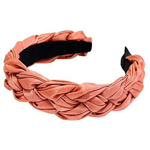 Committede Haarreifen mit geflochtenem Zopf Haarteil Haarband Kopfschmuck Haarschmuck Damen Haarreif mit Knoten und Zierstreifen, Retro Style Haarband, Headband -