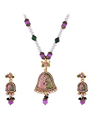 Ganapathy Gems Gold Plated Pandent Set With Purple And Green Enamel And Beads Chain