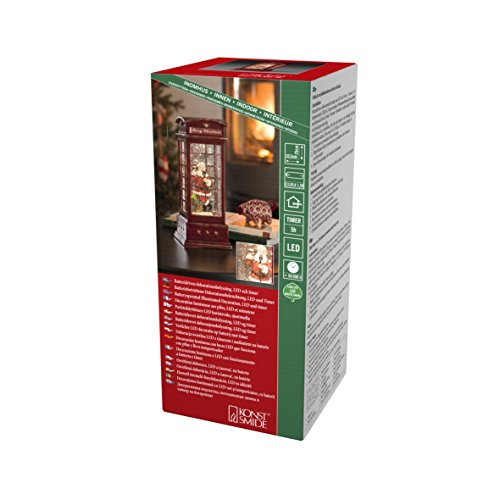 """Konstsmide, 4363-550, LED """"Telefonzelle mit Weihnachtsmann"""", wassergefüllt, 5h Timer, warm weiße Diode, batteriebetrieben, Innen"""