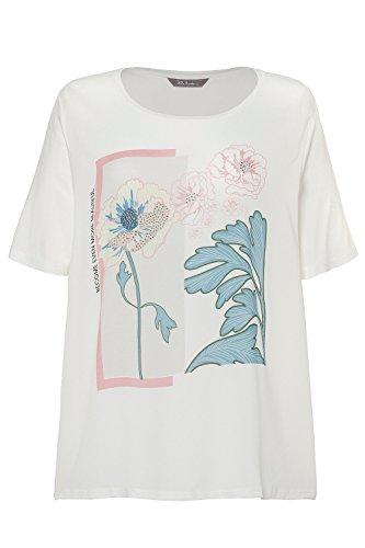 Ulla Popken Damen große Größen bis 62+ | Shirt aus Web | Glitzersteine | Blütenmotiv | Rundhalsausschnitt | helles beige 46/48 716135 23-46+