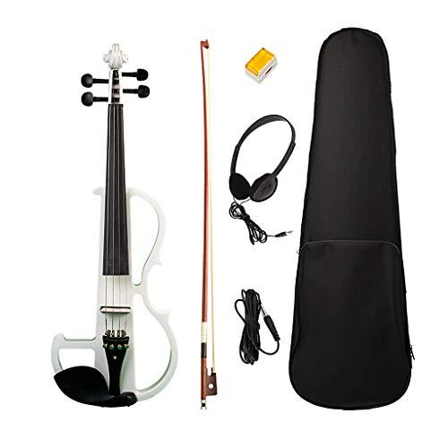 perfk Palco Orchestrale Lucido 4/4 Scala Elettrico Violino Con Custodia Arco In Resina - Bianca