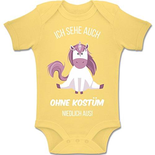 Niedliche Kostüm Narren - Shirtracer Karneval und Fasching Baby - Ich Sehe auch ohne Kostüm niedlich aus Einhorn - 3-6 Monate - Hellgelb - BZ10 - Baby Body Kurzarm Jungen Mädchen
