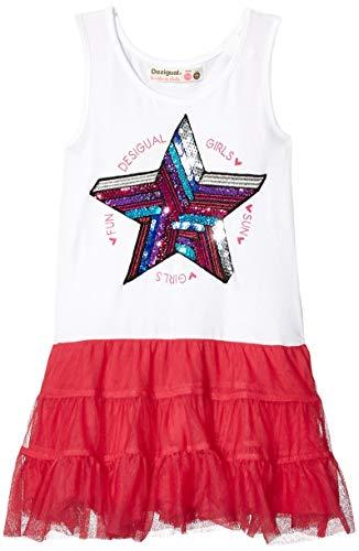 Desigual Mädchen Girl Knit Dress Straps (Vest_SWAN) Kleid, Rot (Pink Fuschia 3022), 104 (Herstellergröße: 3/4) (Dress Fuschia Shirt)