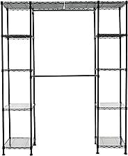 "AmazonBasics Expandable Metal Hanging Storage Organizer Rack Wardrobe with Shelves, 14""-63"" x 58&q"