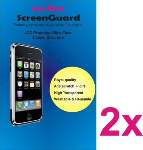 2 Stück Displayschutzfolie HTC Mozart 7 Crystal Clear Schutzfolie 3-lagig kristallklar kratzfest Display