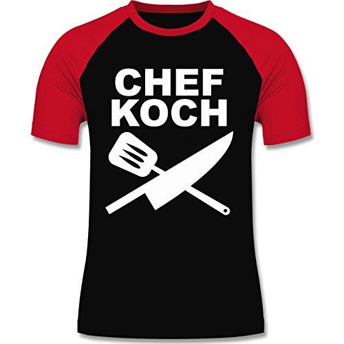 Küche - Chefkoch Messer - zweifarbiges Baseballshirt für Männer Schwarz/Rot