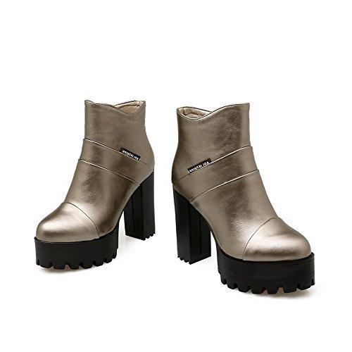 AllhqFashion Damen Schließen Zehe Pu Hoher Absatz Reißverschluss Rund Zehe Stiefel Silber