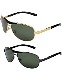 Criba Anti-Reflective Aviator Unisex Sunglasses - (BOXCPMNH|50|Black Color)