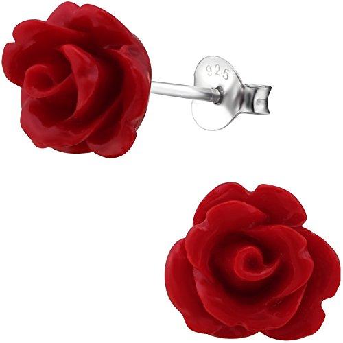 EYS JEWELRY Rosen-Blüten Damen Ohrstecker 925 Sterling Silber 10 mm rot Ohrringe Damen-Schmuck