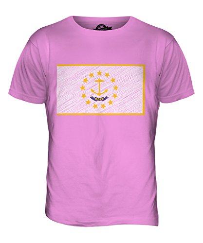 CandyMix Rhode Island Stato Bandiera Scarabocchio T-Shirt da Uomo Maglietta Rosa