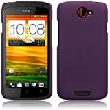 HTC One S Hybrid Rubberised Back Cover Case / Shell / Shield - Solid Purple