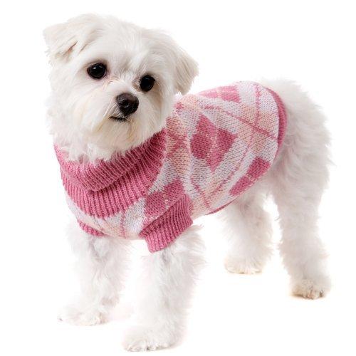 UrbanPup Hundepullover mit Argyle-Muster, Größe XL, 40 cm, Rosa -