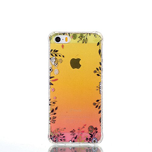 Pour iPhone 5 5S 5G / iPhone SE Case Cover, Ecoway TPU Soft Silicone Golden background personalized pattern Housse en silicone Housse de protection Housse pour téléphone portable pour iPhone 5 5S 5G / fleurs