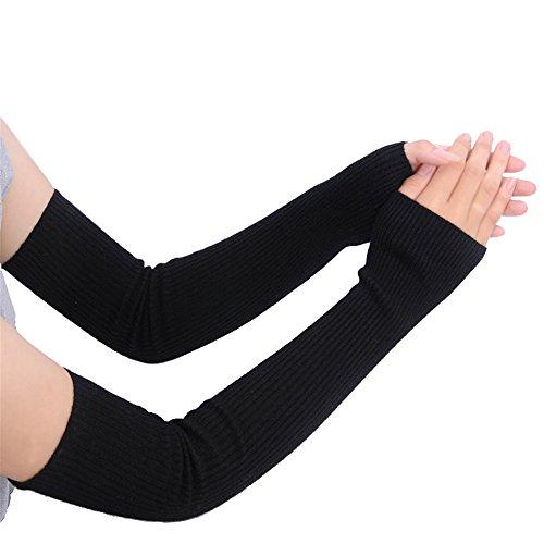 Damen Kaschmir Fingerlose Armstulpen Super Lang 50cm (50cm) Winter kaltem Wetter Handschuhe, Damen, schwarz, 19.7Inch -