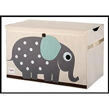 ✮ 3Sprouts ✮ Premiumqualität zu Spielzeug für Kinder 100% Polyester | Aufbewahrungskiste | weiß ecru und grau–Motiv: Elefant | Maße: 62x 37x 38cm | Struktur verstärkte–Deckel–2Ärmelbündchen seitliche | sehr große Qualität, Original und sehr praktisch