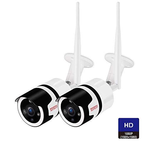Tonton WLAN Kamera IP 1080P HD, Zwei-Wege-Audio, Überwachungskamera für Außen mit LAN & WLAN Verbindung, Outdoor WiFi wasserdichte Sicherheitskamera, Nachtsicht, Smartphones&Tablets&Windows - 2pk Outdoor-wlan-kamera