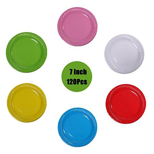 Dogeek - piatti carta paper plates piatti di carta monouso per cena,partito,caramella,torta,frutta,ideale per piatti caldi e freddi - 120pezzo,18cm (puro)