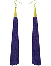 Royal Purple Long Tassel Fashion Earrings For Girls And Women By LuxZery | Only Buy From The Real Manufacturer...