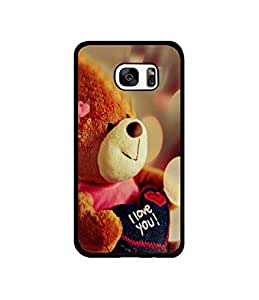 Casotec Teddy Bear Design Canvas Printed Soft TPU Back Case Cover for Samsung Galaxy S7 Edge