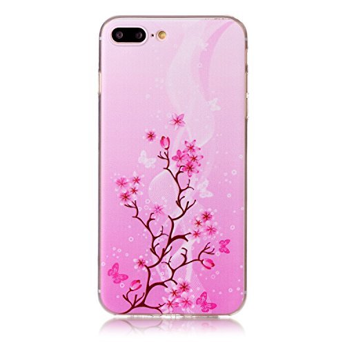 "Aeeque® Ultra Mince Coque de Protection TPU Silicone Case pour Téléphone Portable iPhone 8 Plus Anti Rayure Rose Motif Design Anti Choc Bord Cristal Housse pour iPhone 7 Plus/ iPhone 8 Plus 5.5"" B - Fleur et Papillon Rose"