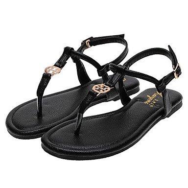 Sandales femmes Printemps PU confort décontracté en microfibre couleur écran noir Amandes Black
