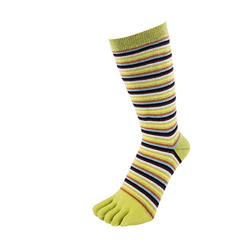 Toe Toe Toetoe–Essential–Herren Gestreifte Zehen Socken (UK 7–13| EU 41–48, dünn grün gestreift) (Stretch-mid Calf Boot)