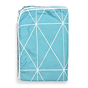 Divine Casa Ocean Microfibre Single Blanket, Abstract- Sky Blue & White