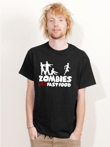 Kostüm Van Helsing - BIGTIME.de Herren T-Shirt Halloween Zombies HATE fast food Fun Shirt schwarz H19 - Größe M