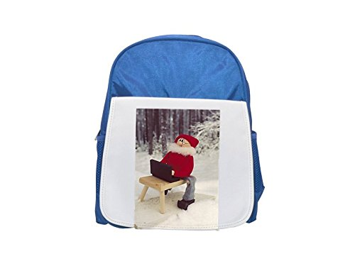 A gnome with a laptop on snow printed kid s blue backpack f377595e538f4