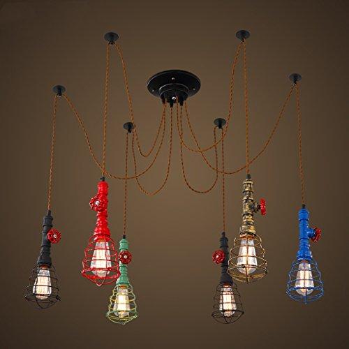 PIAOLING Amerikanische Retro-hängende Lichter, industrielle Wasser-Rohr-Kronleuchter, kreative Persönlichkeit 6 Restaurant Bar Herd Kronleuchter (Rohr Holz-herd-6)