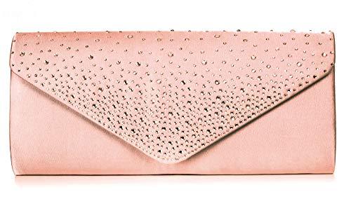 VINCENT PEREZ Damen Clutch Abendtasche Unterarmtasche Umhängetasche aus Satin mit Strassstein-Dekoration und abnehmbarer Kette (120 cm) 23,5 x 10 x 4,5 cm (B x H x T) (Rosa) -