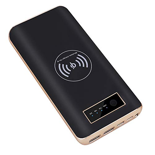 Power Bank Wireless Ladegerät Powerbank 20000mAh, Portable Charger Externer Akku Pack mit Dual Input/USB und LED-Leuchten Kompatibel für iPhone XS/XS Max/XR/X/8/8 Plus und Qi-fähigen Geräte, Black (20000mah Portable Charger Iphone)