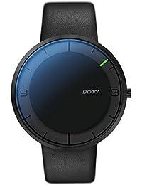 Nova + reloj Botta-Design - Reloj de la mano, de acero inoxidable, esfera de colour negro, All Colour negro, correa de cuero